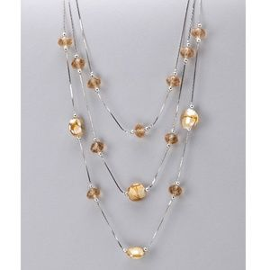 Glass Crystal with Faux Agate Necklace